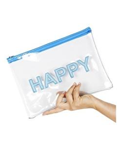 Bakras Bakras Happy Baskı Desenli Şeffaf Makyaj Çantası